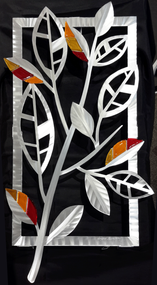 """Striped Leaves - Fall Hand brush aluminum wall Sculpture with glass inclusions by Sondra Gerber. 16""""x29"""""""