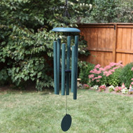 The moderate size of the T306 makes it one of our most versatile windchimes. It's large enough to serve a focal point in your landscape design, yet small enough to fit above a typical porch rail.  Colors available: Black, Copper Vein, Green, Midnight Blue, Patina Green.  Each pipe is individually hand tuned and the chimes are made with durable materials and weather-resistant finishes suitable for outdoor use.