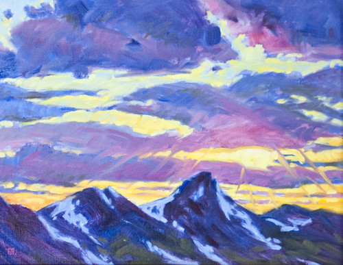 """Original painting by Maggie Renner Hellmann, """"Continental Divide Sunset"""", Oil, 11x14"""