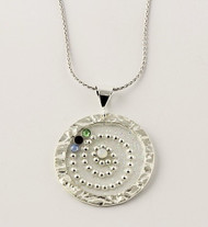 """""""Hammered Circle with Crystals Necklace"""" by Ann Carol Jewelry from Boundbrook, NJ. Each piece is made with sterling silver and accented with hand painted enamel designs"""