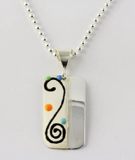 """Two Tone Rectangle Pendant with Black Swirl"" by Ann Carol Jewelry based in Boundbrook, NJ. Each piece is made with sterling silver and accented with hand painted enamel designs on a 16 Inch Bead Chain."