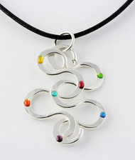 """Interlocking S Pendant"" by Ann Carol Jewelry based in Boundbrook, NJ. Each piece is made with sterling silver and accented with hand painted enamel designs on a 16 Inch-18 Inch/Waxed Cotton Cord."
