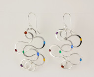 """""""Earrings Interlocking S"""" by Ann Carol Jewelry based in Boundbrook, NJ. Each piece is made with sterling silver and accented with hand painted enamel designs."""
