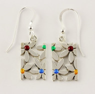 """""""Earrings Cutout Flower Drop"""" by Ann Carol Jewelry based in Boundbrook, NJ. Each piece is made with sterling silver and accented with hand painted enamel designs."""