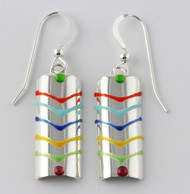 """Earrings Curved Rectangle Drop"" by Ann Carol Jewelry based in Boundbrook, NJ. Each piece is made with sterling silver and accented with hand painted enamel designs."