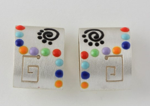 """Earrings 3-D Rectangle Miro w/ Dots"" by Ann Carol Jewelry based in Boundbrook, NJ. Each piece is made with sterling silver and accented with hand painted enamel designs."
