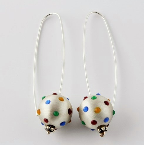 """""""Earrings Ball Drop w/ Dots"""" by Ann Carol Jewelry based in Boundbrook, NJ. Each piece is made with sterling silver and accented with hand painted enamel designs."""