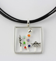 """""""Twig & Leaf Pendant Necklace"""" by Ann Carol Jewelry based in Boundbrook, NJ. Each piece is made with sterling silver and accented with hand painted enamel designs, with Primary Colors/ 1 1/4 Inches Long/ Waxed Cotton Cord/ Adjustable to 18 Inches."""