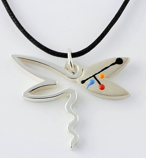 """Abstract Dragonfly Pendant Necklace"" by Ann Carol Jewelry based in Boundbrook, NJ. Each piece is made with sterling silver and accented with hand painted enamel designs, with Primary Colors, 1 1/2 Inches Long/ Adjustable 16 Inch-18 Inch/ Waxed Cotton Cord"