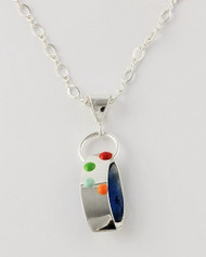 """Ribbon Pendant"" by Ann Carol Jewelry based in Boundbrook, NJ. Each piece is made with sterling silver and accented with hand painted enamel designs, with Primary Colors, 1 Inch Long/ 16 Inch Figure Eight Chain"
