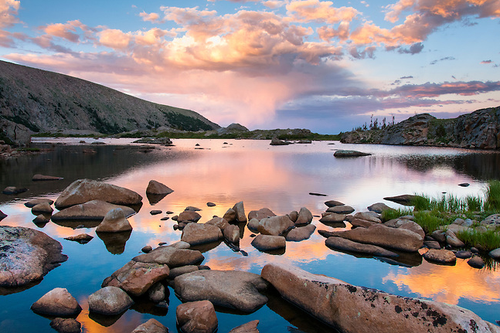 """""""Lake Husted Sunset"""" Photograph by Colorado photographer James Frank. August, evening, Rocky Mountain National Park, Colorado, USA."""