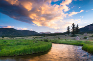 """Sunrise Bend on Big Thompson River"" Photograph by Colorado photographer James Frank. Summer morning sunrise along the Big Thompson River in Rocky Mountain National Park near Estes Park, Colorado, USA."