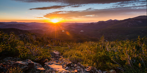 """""""Day Begins On Flattop Mountain"""" Photograph by Colorado photographer James Frank.   """"The day-long backpack over Flattop Mountain began early, several hours before this daybreak view. to enjoy and photograph the sunrise shining across Bierstadt Mountain my friend and I took a long pause while standing among the krummholz conifers. Early morning is usually cool throughout summer at high elevations and a good time to tackle more ardous 'up' of any mountain backpacking trip."""