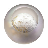 """Moon"" glass paperweight handmade by Glass Eye Studio."