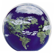 """Earth"" glass paperweight handmade by Glass Eye Studio."