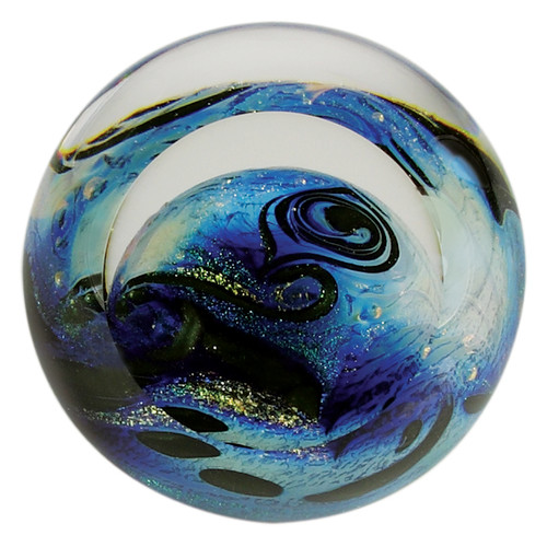 """Blue Planet"" glass paperweight handmade by Glass Eye Studio."