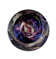 """Whirlpool Galaxy"" glass paperweight handmade by Glass Eye Studio."