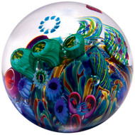 """Cool Pool"" glass paperweight handmade by Glass Eye Studio."