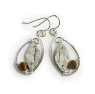 "CAW5 Calder Oval Tiger Eye Earrings by Tessoro Jewelry, natural birchbark, hand hammered sterling silver and tiger eye, sterlign silver ear wires, 1 3/8"" x 3/4""."