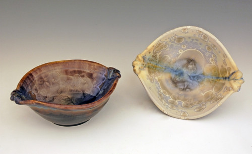"""This Breakfast Bowl is handmade by Bill Campbell based in Cambridge Springs, PA. The bowl is 7 1/2"""" and holds 1 1/2 cups it is shown both glazes. We offer two different Stellar glazes Cream/Green/Blue and Gold/Cobalt. All of his porcelain is functional; microwave, oven, dishwasher safe."""