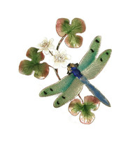 Dragonfly Green Winged with Flower by Bovano of Cheshire Metal