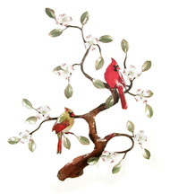 Two Cardinals in a Dogwood Tree by Bovano of Cheshire Metal