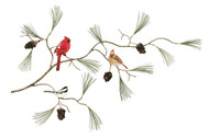 Cardinals and Chickadee Pine Branch and Pine Cones by Bovano of Cheshire Metal