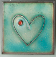 """Within"" (blue) by Jenn Bell 4x4 glass on copper tile"