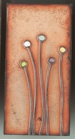 """Sprouts"" by Jenn Bell 3x6 glass on copper tile"