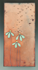 """Attraction"" by Jenn Bell 6x12 glass on copper tile"