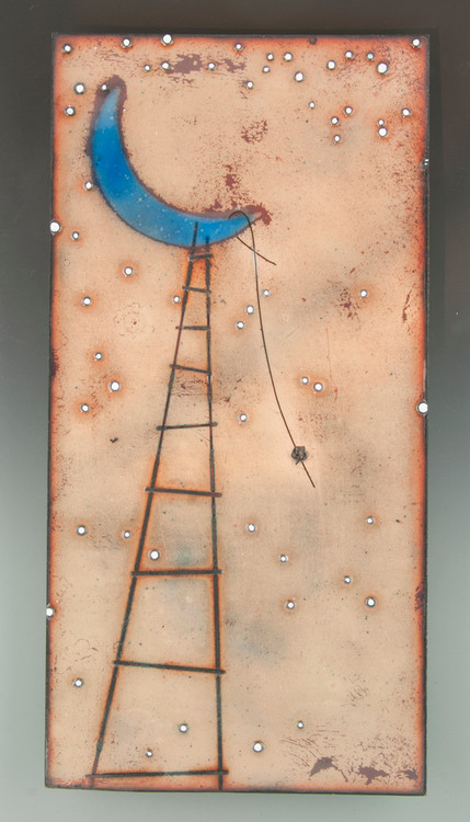 """""""To The Moon & Back"""" by Jenn Bell 6x12 glass on copper tile"""