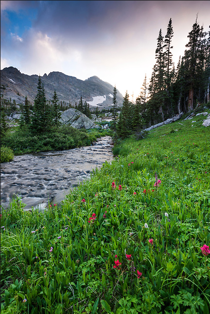"""""""Into the Sunset Along Cony Creek"""" Photograph by Colorado photographer James Frank. This photography was taken in the evening after hiking the upper descent of Hutcheson Lakes to Cony Creek in Rocky Mountain National Park, Colorado, USA."""