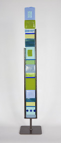"""Small Standing Totem in Water by Hands On Art Glass. 3""""x27"""", fused glass in a grey metal stand. Please call our galleries to see which pieces are currently on hand."""