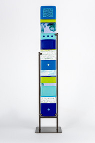 """Large Standing Totem in Water by Hands On Art Glass. 5""""x36"""", fused glass in a grey metal stand. Please call our galleries to see which pieces are currently on hand."""
