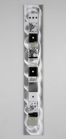 """Wall Totem in Black and White by Hands On Art Glass. 2""""x24"""", fused glass on aluminum. Please call our galleries to see which pieces are currently on hand."""
