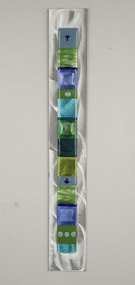 """Wall Totem in Water by Hands On Art Glass. 2""""x24"""", fused glass on aluminum. Please call our galleries to see which pieces are currently on hand."""