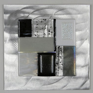 """Wall Square in Black and White by Hands On Art Glass. 6""""x6"""", fused glass on aluminum. Please call our galleries to see which pieces are currently on hand."""