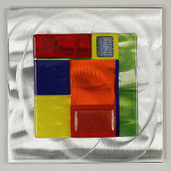 """Wall Square in Spectrum by Hands On Art Glass. 6""""x6"""", fused glass on aluminum. Please call our galleries to see which pieces are currently on hand."""