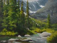 """""""Alpine Summer"""" by Terri Sanchez.  Oil on Canvas.  Framed.  12x16 inches."""
