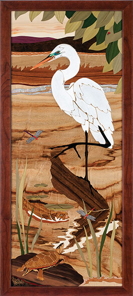 """""""Great Egret"""" by Jeff Nelson, Wood Marquetry, 18x40."""