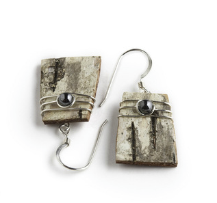 """IPSW Classic earrings by Tessoro Jewelry, natural birchbark, hematite and sterling silver wrap, sterling silver ear wires, 3/4"""" x 1/2""""."""