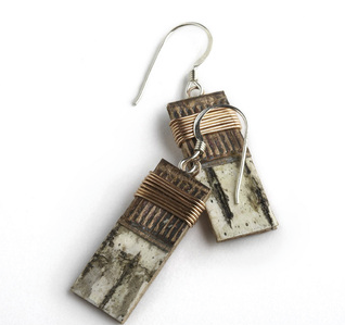 """1W Classic Wrap by Tessoro Jewelry, natural birchbark, recycled copper, copper wire wrap, sterling silver ear wires, 1"""" x 3/8""""."""
