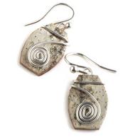 "CW1 Classic Contempo Swirl by Tessoro Jewelry, natural birchbark, sterling silver, sterling silver ear wires, 3/4"" x 1/2""."