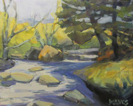 """""""Creek Bed & Pine"""" by Adam Blanks.  Oil on Canvas. 16x20 inches."""