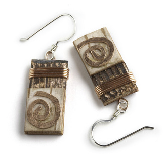 "17W Classic Copper Swirl by Tessoro Jewelry, natural birchbark, recycled copper and hand hammered copper, sterling silver ear wires, 1"" x 3/8""."