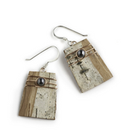 "1PCW Classic Hematite and Copper Earrings by Tessoro Jewelry, natural birchbark, hematite and copper wrap, sterling silver ear wires, 3/4"" x 1/2""."