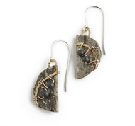 "MW1 Classic Moon Hematite and Copper Earrings by Tessoro Jewelry, natural birchbark, hand hammered copper and hematite, sterling silver ear wires, earrings are 3/4"" x 1/2""."