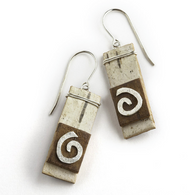 "NOW2 Classic Nordic Swirl Earrings by Tessoro Jewelry, natural birchbark, hand hammered sterling silver, sterling silver ear wires, earrings measure 1 1/8"" x 3/8""."