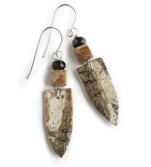 "AW10 Ancient Fossilized Coral and Garnet Earrings by Tessoro Jewelry, natural birchbark, fossilized coral and garnet, sterling silver ear wires, earrings are 1 1/2"" x 1/2""."
