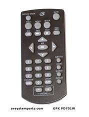 GPX PD70W Remote Control